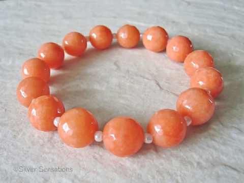Chunky Faceted Peach Orange Jade Beaded Stretch Fashion Bracelet
